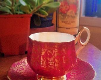 Elizabethan Fluted High Handled Fine Bone China Teacup & Saucer