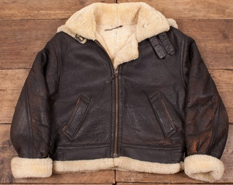 Women's Vintage Sheepskin Shearling B3 Leather Fur Lined Jacket Brown M 12 R4538