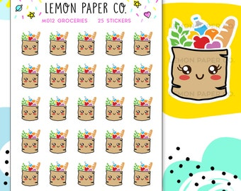 M012 Groceries // Kawaii Planner Stickers
