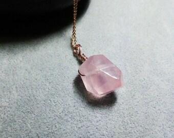 Rose quartz-Pink quartz-Rose quartz Pendant-Rose quartz necklace-Love stone-wire wrapped irregular Rose quartz-Natural gemstone jewelry