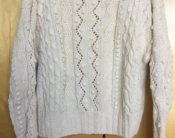 Cream Thick Knit Vintage Sweater