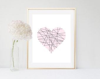 Nursery Art, Heart Print, Geometric Heart, Pink Heart, Printable Art, Nursery Print, Home Decor, Wall Decor, Instant download