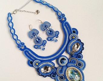 Soutache set blue, light blue, white, silver colors - Soutache necklace - Soutache Earrings - Soutache red necklace - soutache jewelry