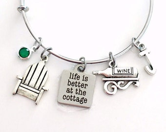 Life is better at the Cottage Jewelry, Muskoka Adirondack Chair Charm Bracelet, Bangle initial Birthstone Present Women Woman Wine Bottle