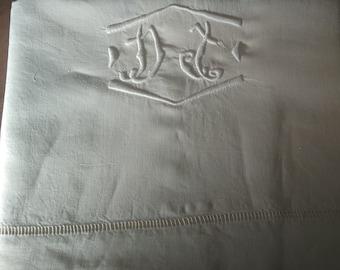 "SHEET, initials DJ, very good condition, flax, 2,20 x 2.84 m (87 ""x 112""), 50 years"