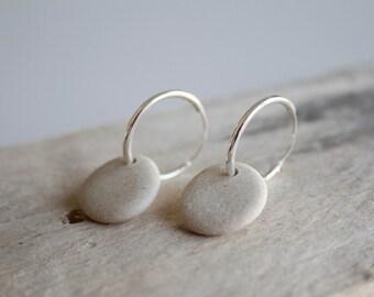 Sterling Silver Hoop Earrings, Sterling Silver Pebble Earrings, Pebble Earrings, Pebble Jewellery, Sterling Silver Earrings, Silver Hoops
