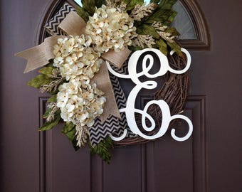 Wreath for Front Door - Year Round Wreath with Monogram - Everyday Hydrangea Wreath with Burlap Bow - Outdoor Grapevine Wreath with Initial