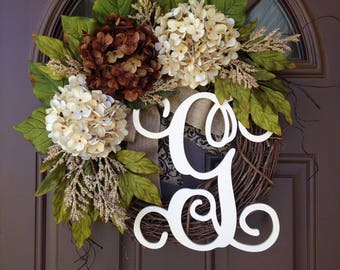 All Season Wreath for Front Door-  Wreaths - Thanksgiving Grapevine Wreath with Burlap - Monogrammed Hydrangea Wreath- Fall Decor - Gift