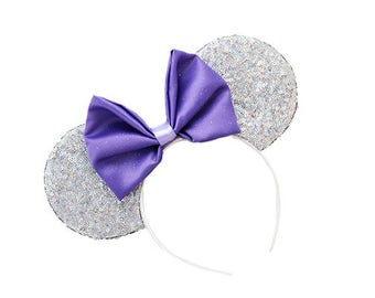 Holographic Silver Sequined Mouse Ears