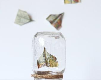 Decorative Mason jar x Origami | Plane | Original and delicate table decoration