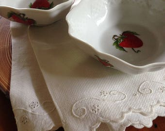 Pair of French Porcelaine Lourioux Creation Ph. Deshoulieres France V Porcelain Strawberry Dishes Enamel Decorations of Strawberries c. 1980
