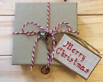 Merry Christmas Gift Tag, Holiday Gift Tag, Wooden Gift Tag, Cross Stitch, Gift Wrapping, Christmas Gift