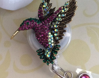 Rhinestone Hummingbird Retractable ID Badge Reel, Nurse Badge Reel