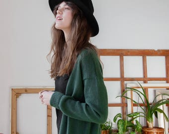 MOHAIR&WOOL CARDIGAN long length with pockets green color