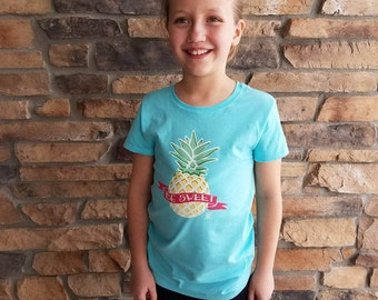 "Girls ""BE Sweet"" Pineapple Crew Neck Tee"