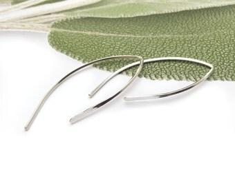 Sterling Silver Hoop Earrings, Hammered Hoops,Sterling Silver Open Hoop Earrings, Hammered Silver Earrings, Minimal Earrings,Curved Earrings