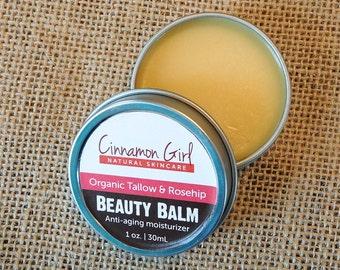Organic Tallow & Rosehip Beauty Balm Facial Moisturizer, 1 oz tin