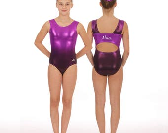 Personalized gymnastics leotard ombre with open back custom leotard with name gymnastics party dance