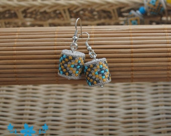 Unique gift for her gifts for girl earrings ethnic earrings drop earrings boho jewelry geometric earrings fabric jewelry embroidered jewelry