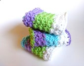 Cotton Washcloth, Crocheted Dishcloth, 100% Cotton, Blue, Purple, Green, White, Summer, Housewarming Gift, Shower Gift, Spa Gift
