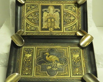 2 Vintage 1940 / 1950's Solid Heavy Beautifully Hand Engraved Gilded in Moroccan Design / Style Footed Ash Trays