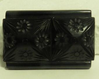 Vintage 1950's Hand Carved Black Bakelite Pin.