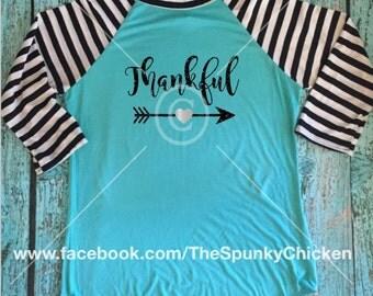 Fall Thankful Arrow Raglan Striped Sleeve Shirt