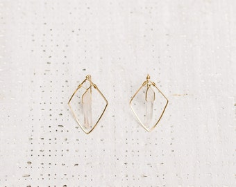 Geometric Diamond Crystal Earrings