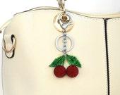 Cherry keychain Pom pom Keychain Red keychain for women Purses Bag Charm Summer accessories Womens gift Handbag charm  designer bag charm
