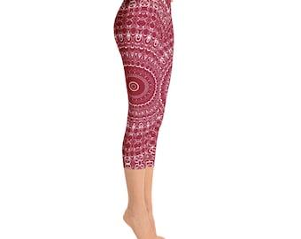 Capri Burgundy Leggings - Red Yoga Pants, High Waist Yoga Leggings, Mandala Patterned Leggings, Printed Yoga Tights