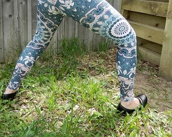 Leggings With Designs for Women - Nature Leggings, Brown and Green Mandala Yoga Leggings, Yoga Pants