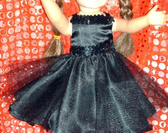 Black satin party dress for American Girl doll