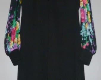 Vintage 1970's Midi Dress Pleated Bell Sleeves UK 12 - 14