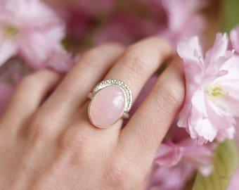 Rose Quartz Ring, Sterling Silver Rose Quartz Ring, Sterling Silver Ring, Rose Quartz Ring, 925 Silver, Rose Quartz, SIZE 6 / SIZE M - N