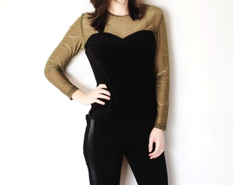 Vintage Black and Gold Velour top
