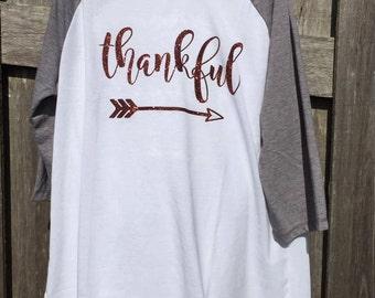 Thankful with arrow shirt, women's raglan shirt, mama and me