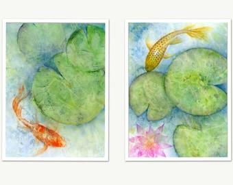 Japanese Koi Fish Watercolor Print Set, Zen Wall Art, Abstract Watercolor Oriental Carp Fish Pond, Blue Green Lily Pads, Gold Fish Art