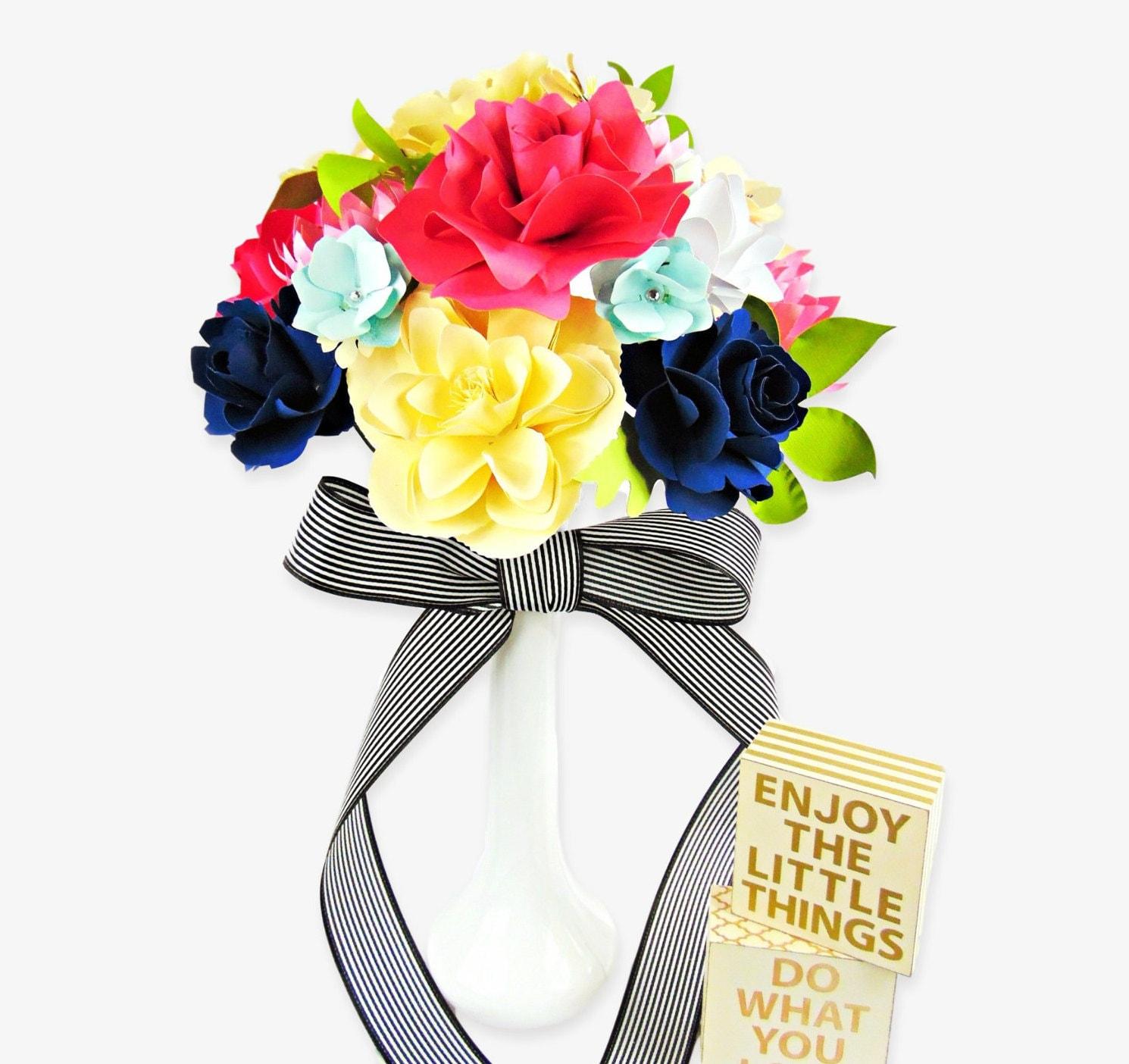 Wedding Paper Flower Templates: Paper Wedding Bouquet DIY Paper Flower Templates Rose Paper