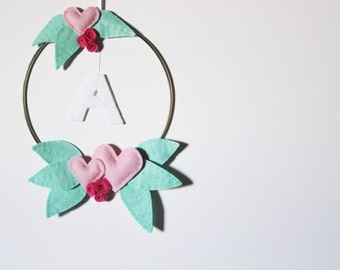 Floral Initial Nursery Wall Hanging