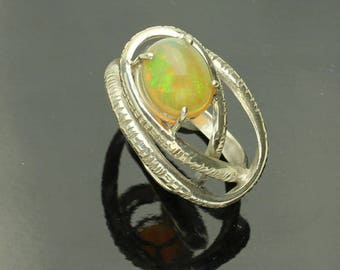 Opal Silver Ring, Ethiopian Opal Sterling Silver Ring, Opal Cabochon