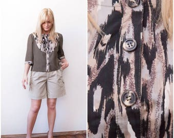 60s Blazer Khaki Womens Blazer Olive Green Button Up Top Bib Front Animal Print Blazer 3/4 Sleeves Blazer Medium Large Short Sleeve Blazer M