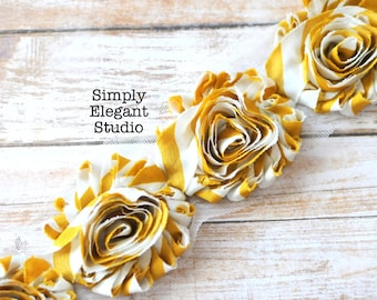 "Yellow Stripe Chiffon Shabby Chic Flower, 2.5"" Chiffon Flowers, Headband Flowers, Flower by the Yard"
