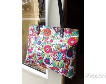 Floral Spring Handbag, Coloring Book Floral Purse, Coloring Book Floral Tote Bag, Floral Shoulder Bag, Zipper Handbag, Gift for her