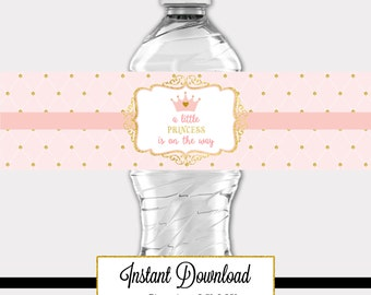 Printable Princess Pink and Gold-A 029 Baby Shower Waterbottle Label Party Decoration, Baby Shower, Birthday
