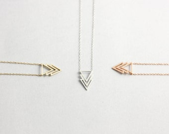 Triangle Necklace, Triple Chevron Necklace, Geometric Necklace, Gold Chevron Necklace, Silver Triangle Necklace, Gold Triangle Necklace 0060