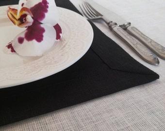 Black Placemats Set of 6 8 10 - Pure Linen Placemats - Black Natural Linen - Wedding Linen Placemats - Elegant Placemats - Easter placemats