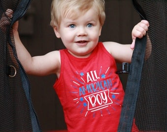 4th of July Shirt - Fourth of July - Patriotic Shirt - All American Boy - July 4th Tank - Patriotic Kids Tank - Independence Day Tee
