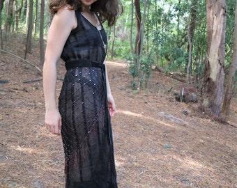 Retro Striped Mesh Dress with Ruffled Hem