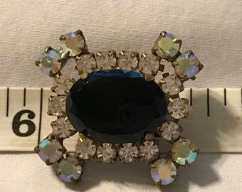 Vintage Czech Glass Rhinestone Button, Focal Button, DIY Rhinestone Button, Crystal Cloak Button, Vintage Glass, Button, Cosplay Button