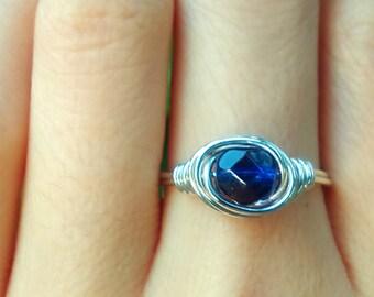 Dark Blue Índigo Violet Sapphire Glass Crystal Round faceted Dainty wire ring gold rose bronze antique copper silver glowy Gypsy Bohemian
